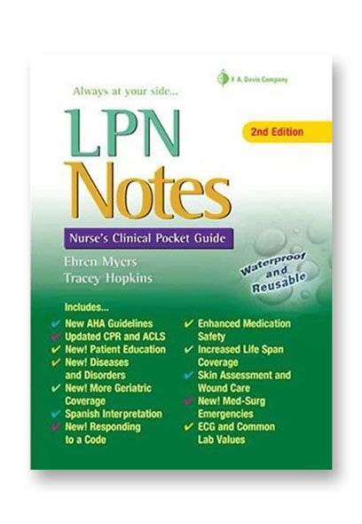 lpn notes  nurses clinical pocket guide reference book