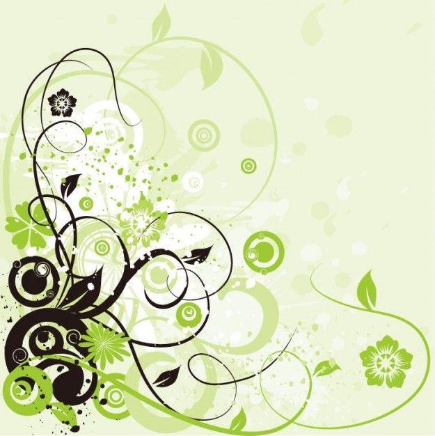floral swirls green design background