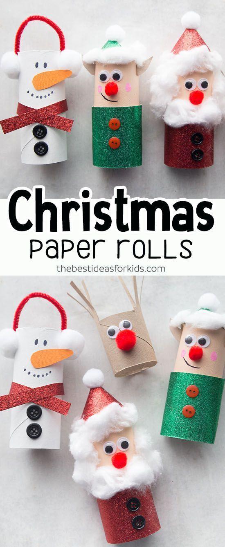 Christmas Crafts for Kids - Toilet Paper Roll Christmas Crafts. Kids will love making these for Christmas! Perfect for preschool or kindergarten classes too. Easy Christmas Craft for Kids. #bestideasforkids #christmas #christmascraft #craft #diy #kidscrafts #kidsactivities #paperrolls #papercraft #preschool #kindergarten #toddlers