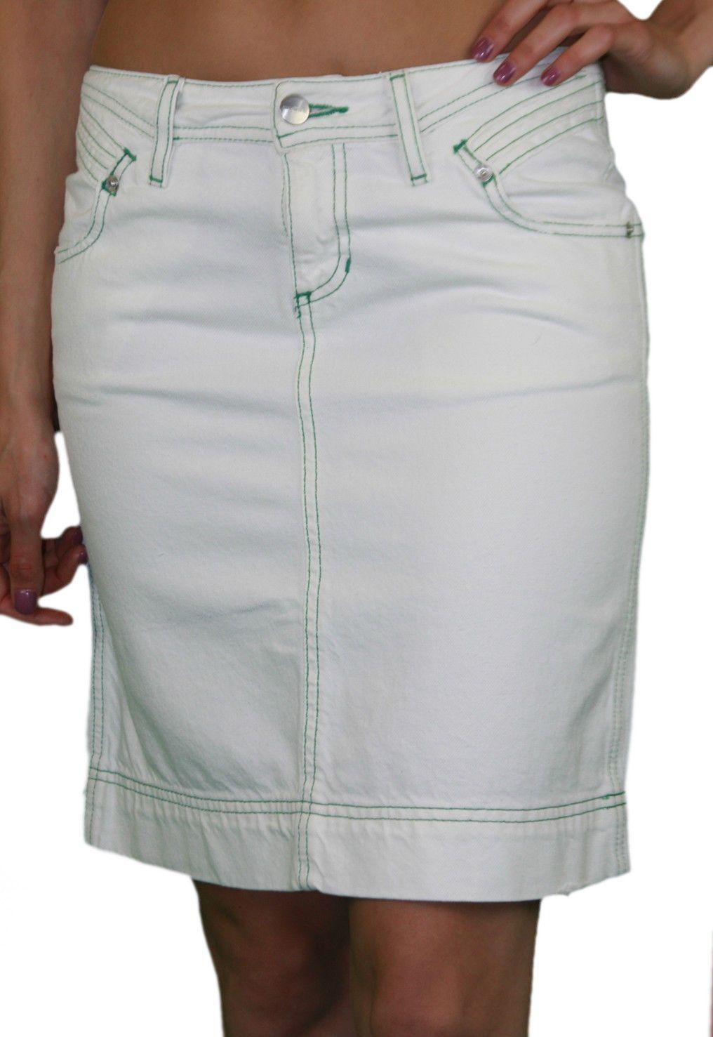 53bf4fcdcd57 Details about CUSTO BARCELONA Women's Start White Denim Skirt 293536 ...