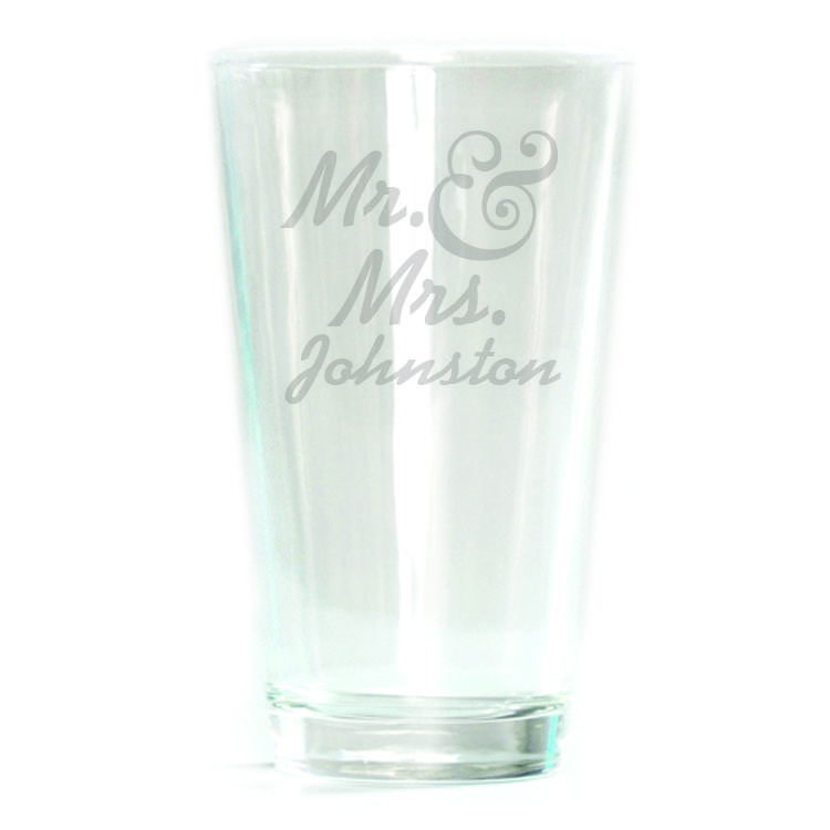 Pub Glass - 16oz - Mr. & Mrs. Personalized