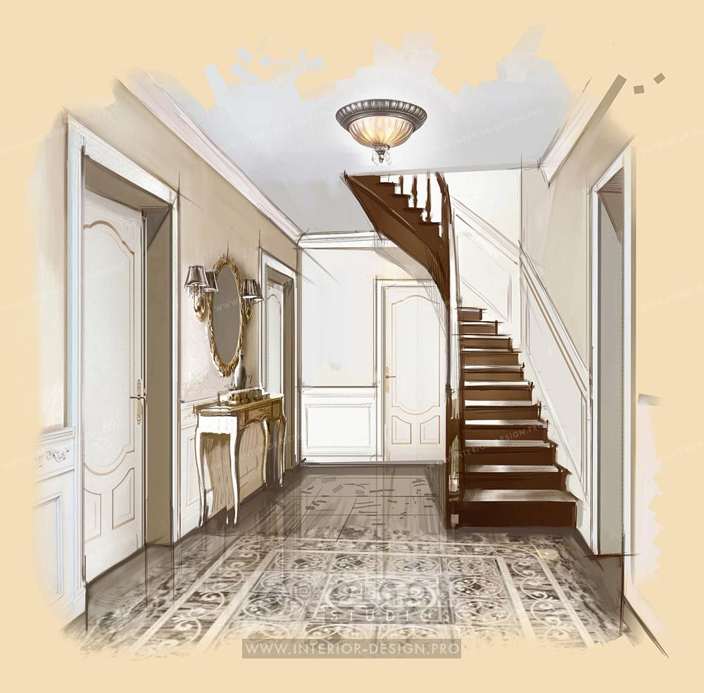 Hallway Interior Design Visualisations Hall Design: House Hall Interior Design Http://interior-design.pro/en