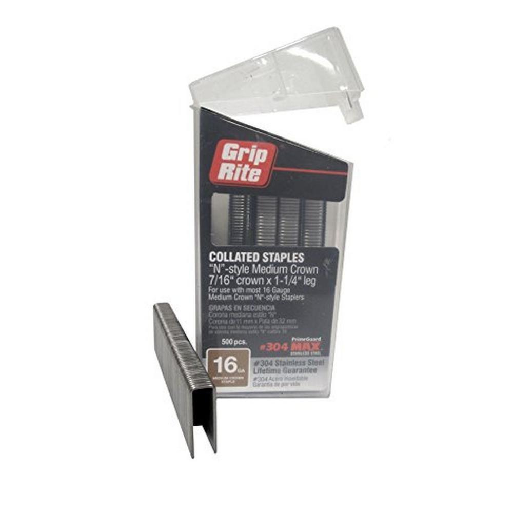 Grip Rite 1 1 4 In X 16 Gauge 304 Stainless Steel N Style Medium 7 16 In Crown Staples 500 Per Box Maxb64890 Steel Stainless Steel Window Casing