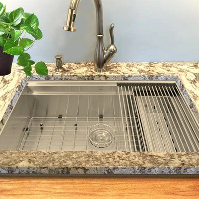 Nantucket Sinks Pro Series 32 L X 20 W Undermount Kitchen Sink With Basket Strainer Single Bowl Kitchen Sink Sink Rustic Kitchen Sinks