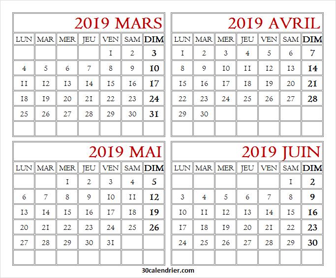 Calendrier Avril Mai Juin 2019.2019 Calendrier Mars Avril Mai Juin A Imprimer Calendrier