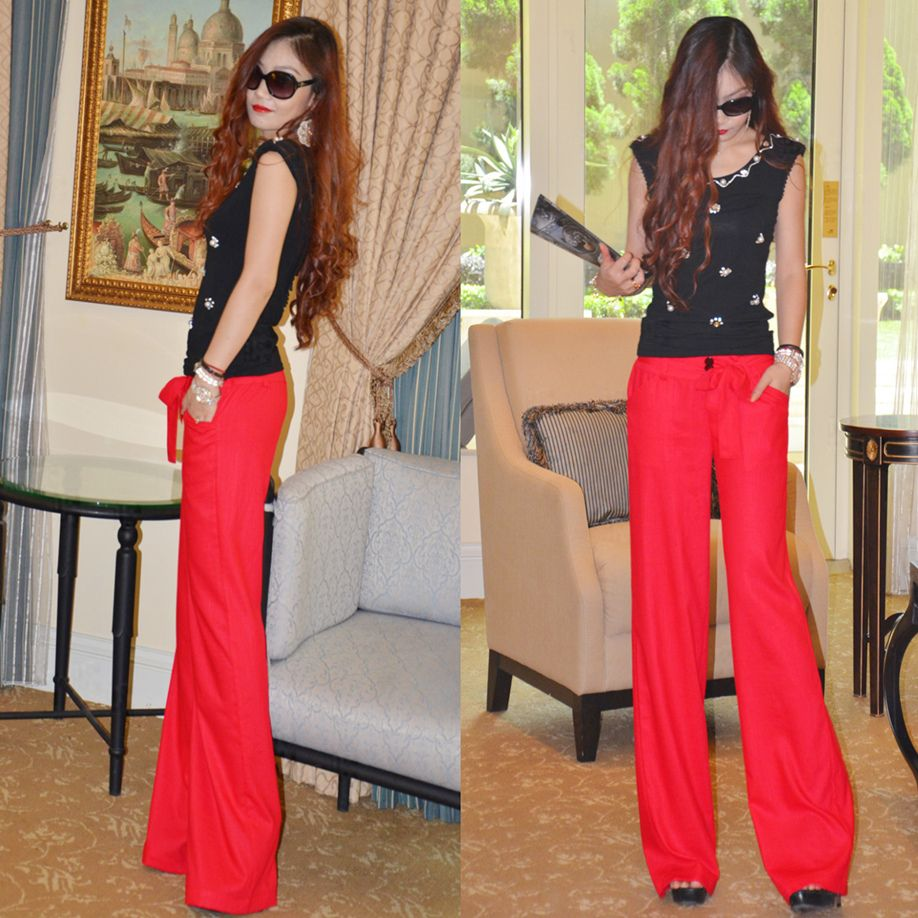 Linen pants wide leg pants trousers fashion fluid casual pants female thin fashion summer Women trousers