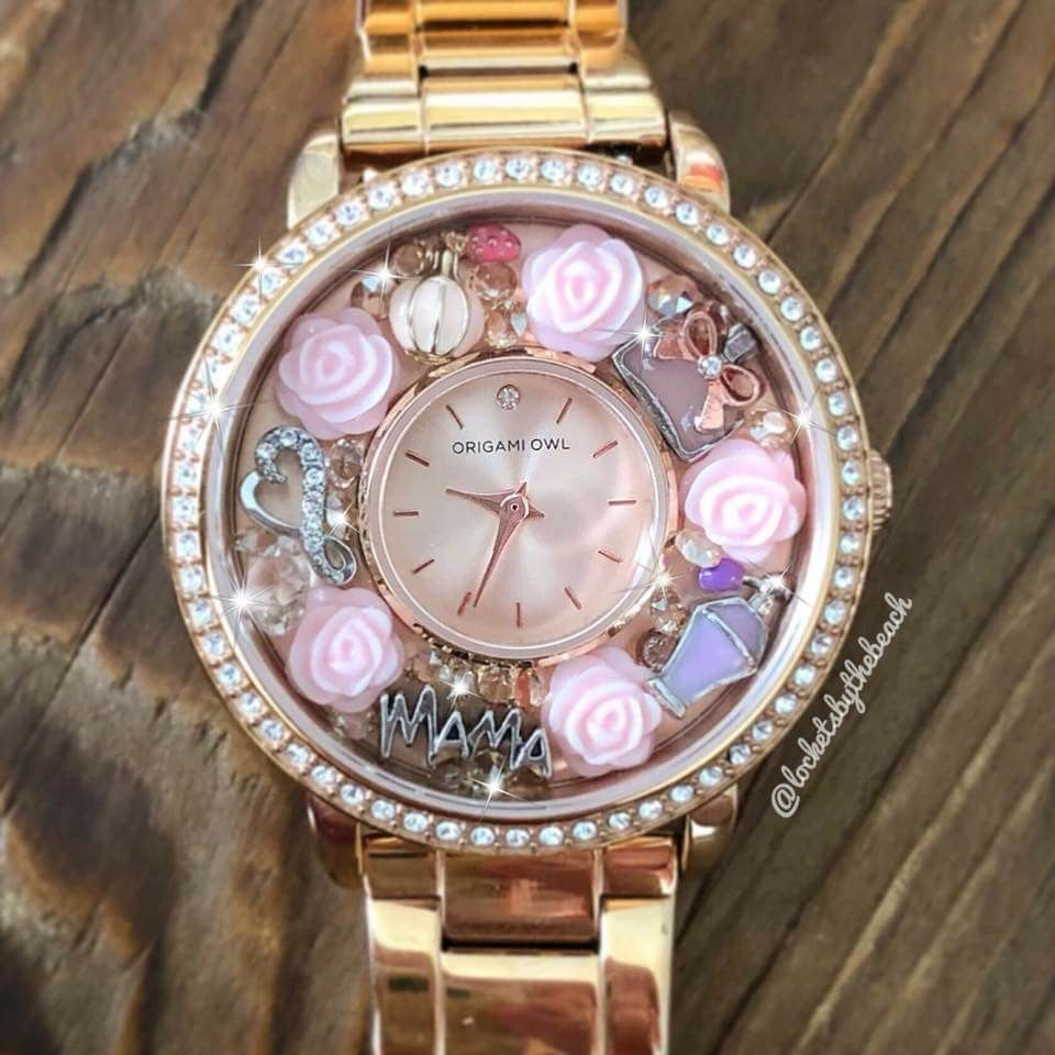 Gorgeous Limited Edition Origami Owl Rosegold Swarovski Crystal Fossil Cecile Multifunction Stainless Steel And Acetate Watch Am 4632 Mothers Day Collection Jewelry Origamiowl