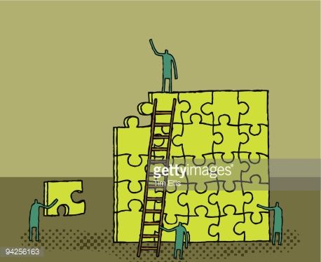 people on ladders putting in a jigsaw piece - Google Search