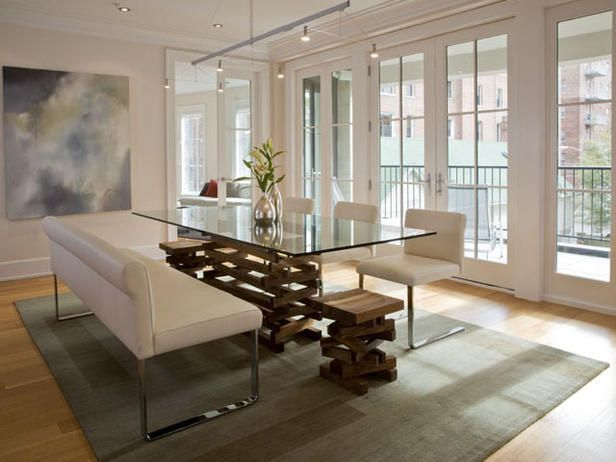 Modern Neutral Open Living Room Glass Dining Room Table Beautiful Dining Rooms Dining Room Design Modern