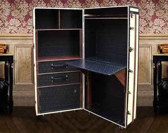 Office Steamer Trunk Storage Madetoorder Unique Desk Bookcase Cabinet Vintage Style Luxury