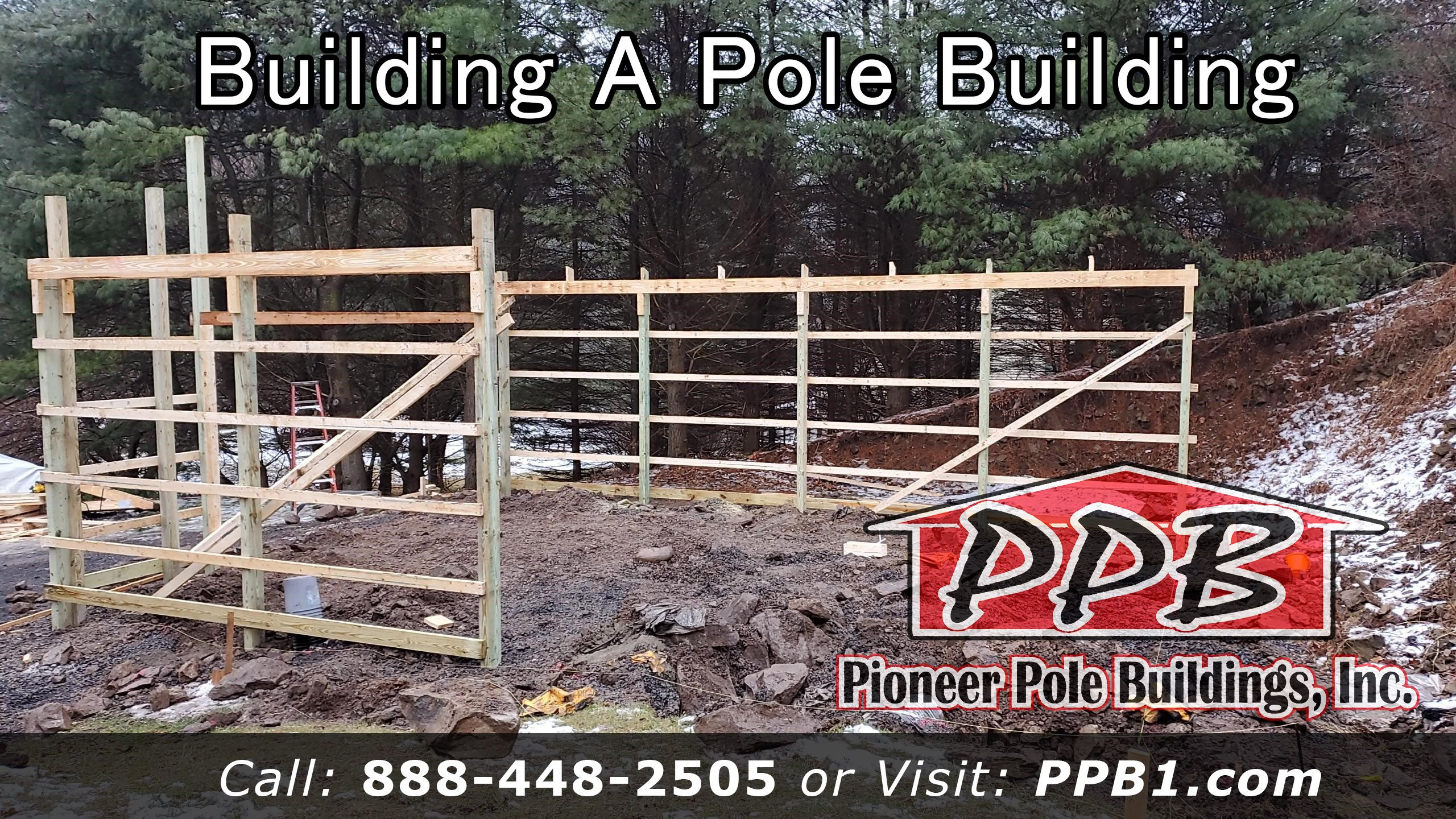 Building A Pole Building. Slowly building in the rocks ...