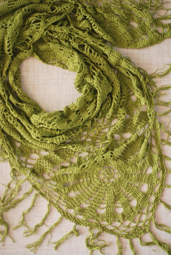 Summer green crochet shawl scarf pareo by Muza on Etsy, $115.00