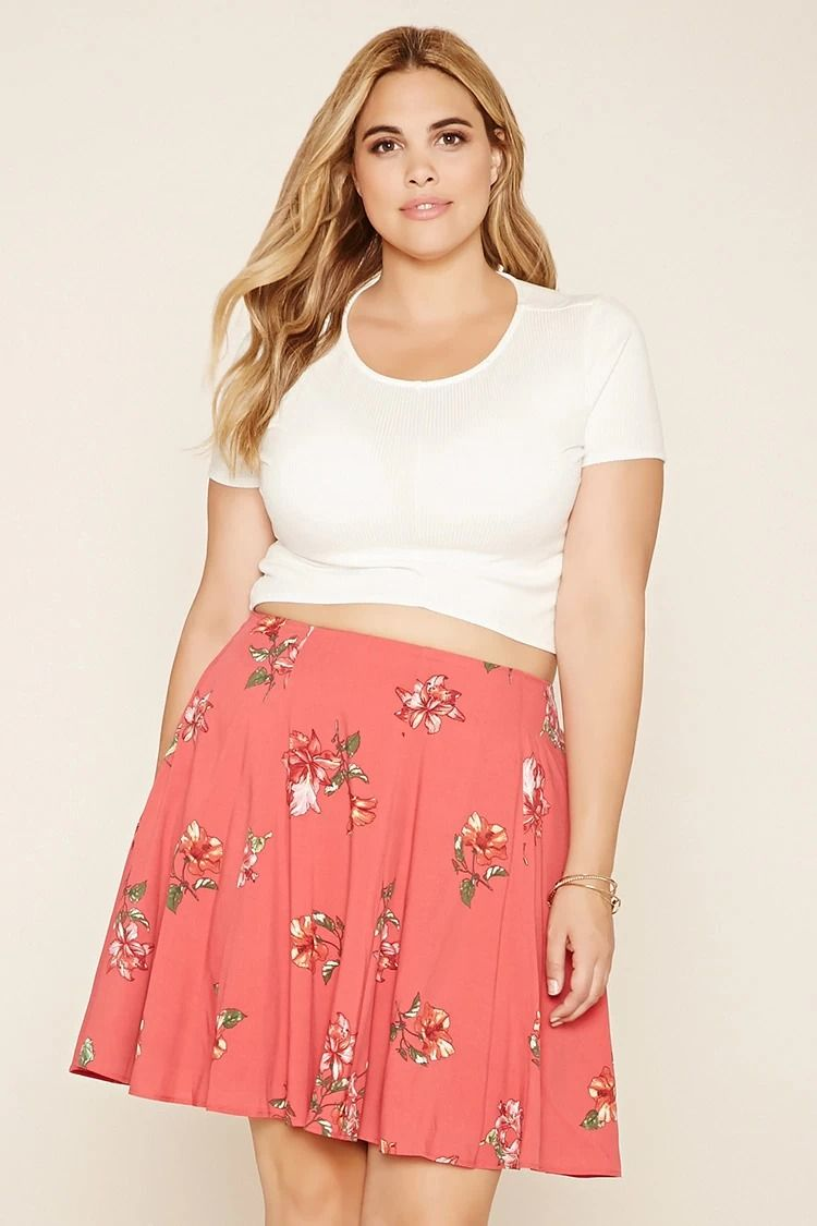 47a663de4dd Forever 21+ - A woven mini skirt with an elasticized waist and an allover  floral print.  forever21plus