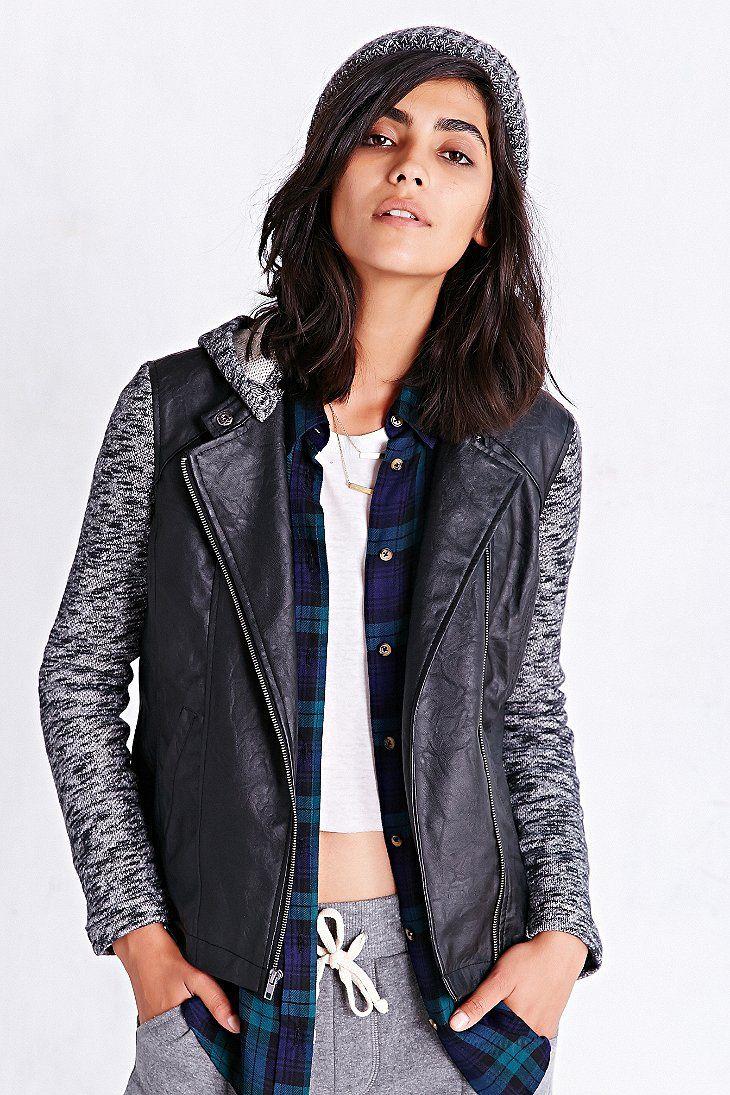 Jack Knit Mix Vegan-Leather Jacket. str.36/s