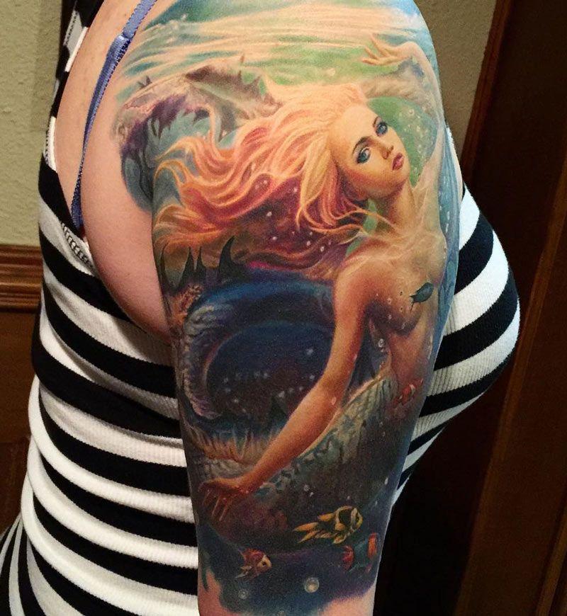 Mermaid Sleeve By Orellana Mermaid Sleeve Tattoos Mermaid Tattoos Mermaid Tattoo