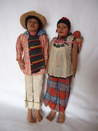 RARE Vintage Mexican Couple with Baby Family Mexico Amazing Detail Art Dolls | eBay