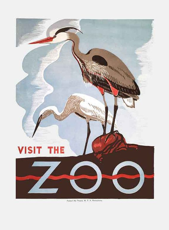Fun art deco advertisement to visit the zoo would be so cute in a