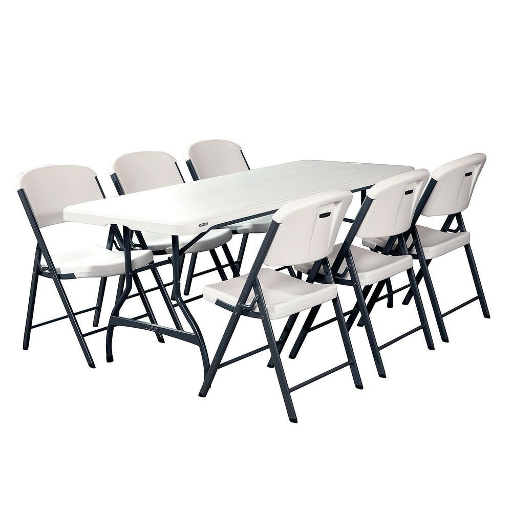 Lifetime Combo One 6ft Commercial Grade Folding Table 6 Chairs White Granit Lifetime Commercialgrade Table And Chair Sets Table And Chairs Folding Chair
