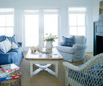 I want a denim couch and a good sturdy coffee table to sit around.