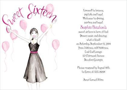 17 Best images about Sweet Sixteen Birthday invitations on – 16th Birthday Invitation Wording