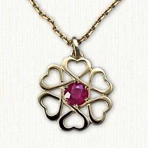 Celtic Open Heart Knot Pendant with gemstone-All Gemstones Available ...