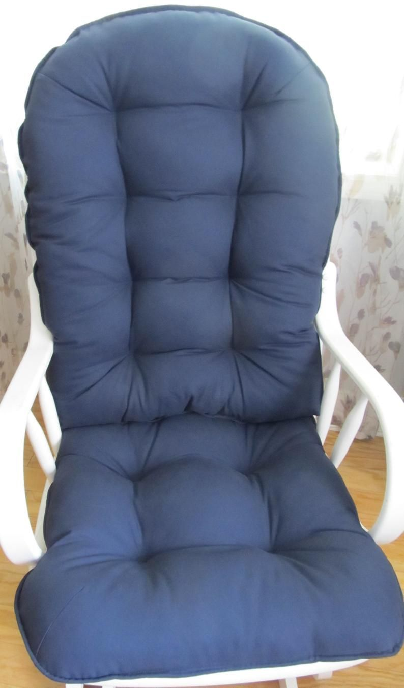 Glider or rocking chair cushion set in navy blue solid or