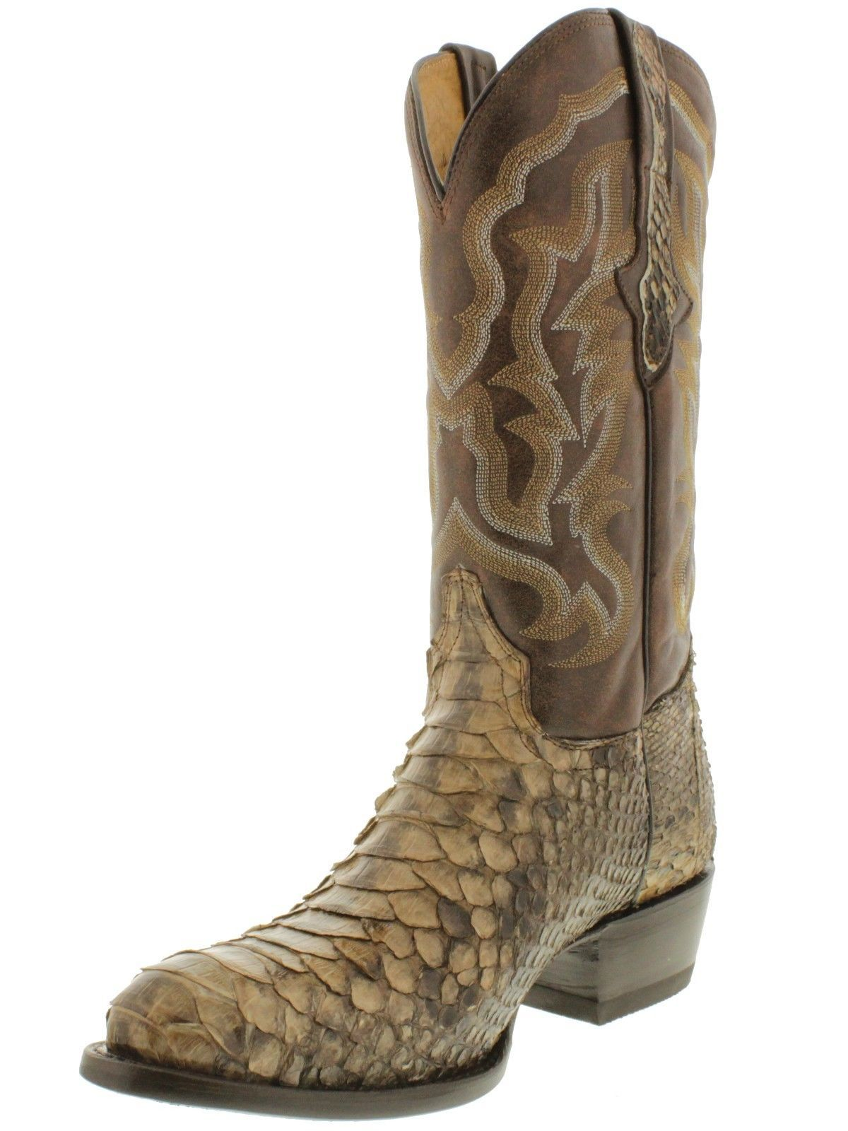 Men's Brown Python Snake Distressed Leather Cowboy Boots Square Toe
