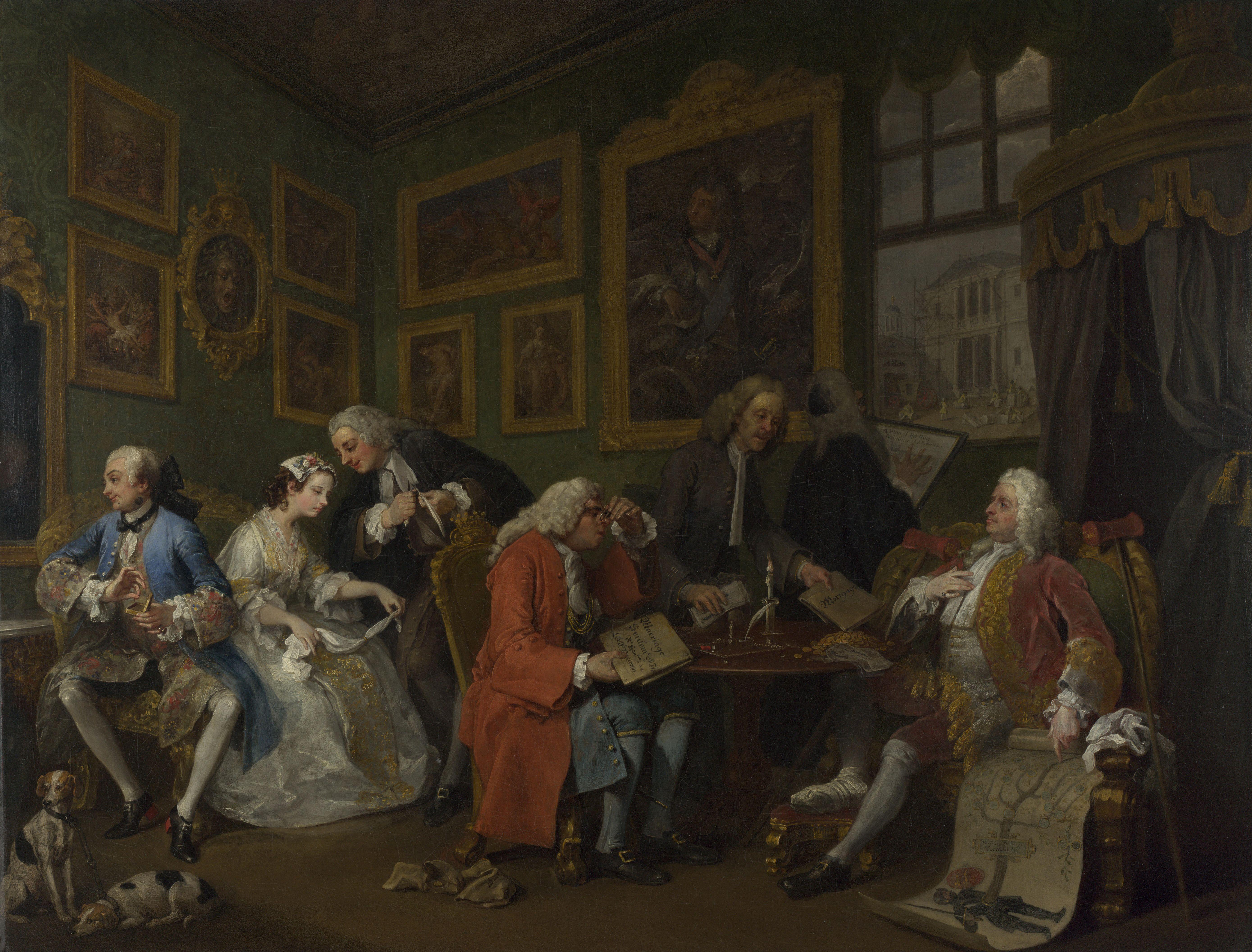 William Hogarth ~ Marriage à-la-mode: 1. Het huwlijkscontract ~ 1743 ~ Olieverf op doek ~ 69,9 x 90,8 cm. ~ The National Gallery, Londen