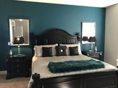 Dramatic accent wall in master bedroom. Love the teal black and gray. Color is #graybedroomwithpopofcolor