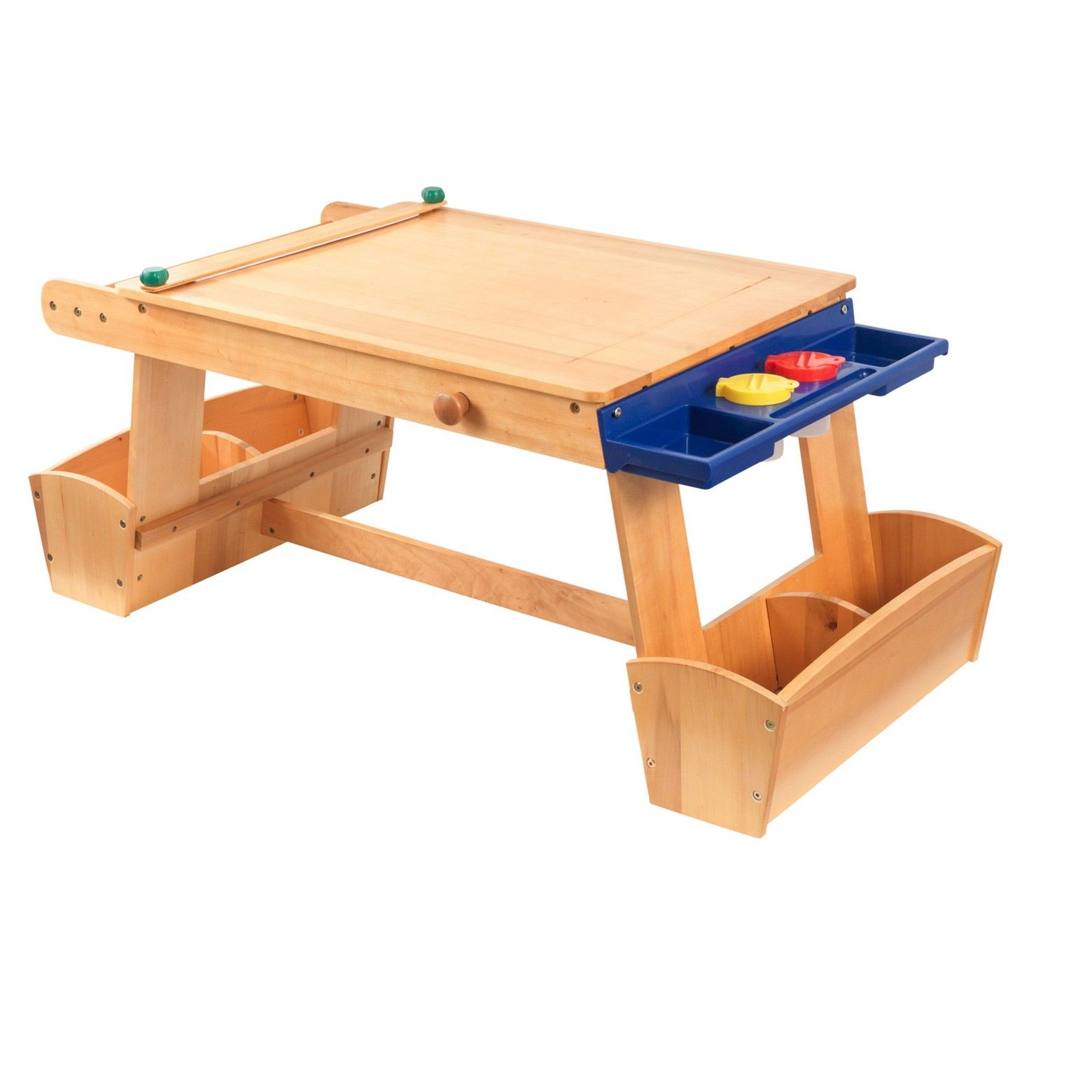 The kidkraft art table with drying rack storage will be