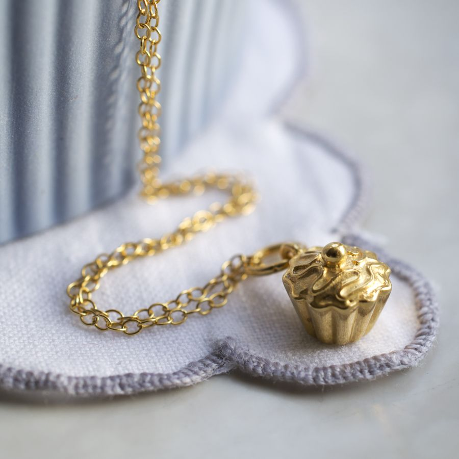 e2c707c5b95 Personalised Gold Plated Cupcake Necklace