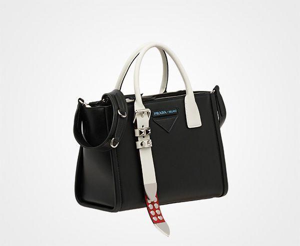 13445ebab47e67 Prada Concept Leather handbag Prada BLACK+FIRE ENGINE RED #Pradahandbags