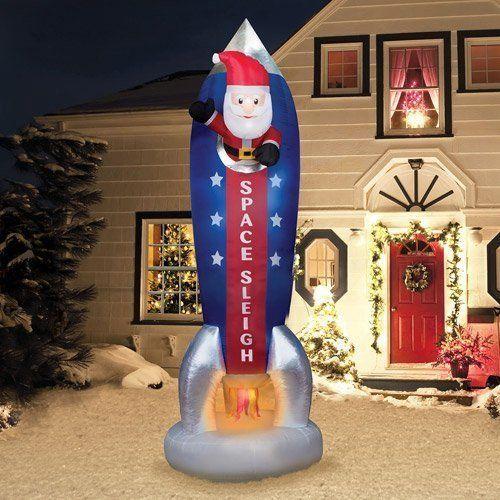 Airblown Holiday Christmas Santa Rocket Space Sleigh Outdoor North