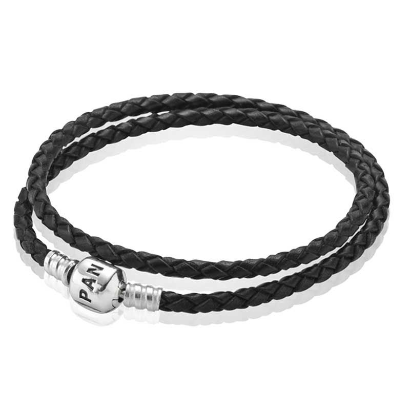 pandora bracelet pandora tressé en cuir noir