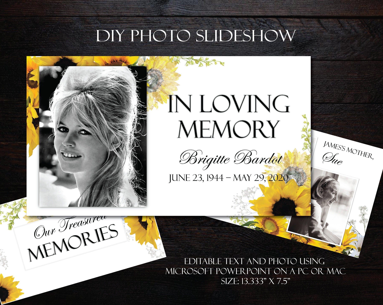 Diy Memorial Photo Slideshow Powerpoint Sunflowers Funeral Etsy In 2021 Photo Slideshow Funeral Templates Funeral Program Template In loving memory powerpoint template