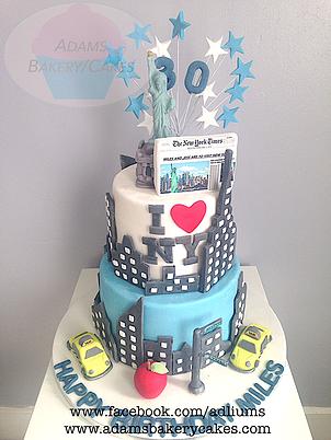 New York Themed Cake With Statue Of Liberty Topper Jasmine Birthday Girls