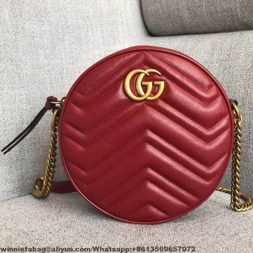 612d07f7a Gucci GG Marmont Mini Round Shoulder Bag 550154 2019 | Gucci in 2019 ...