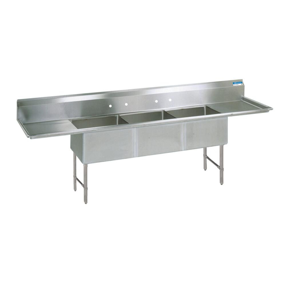 Bk Resources 16 304 Freestanding Stainless Steel Silver 123 In L Triple Bowl Kitchen Sink With Drains Double Bowl Kitchen Sink Sink Commercial Kitchen Sinks