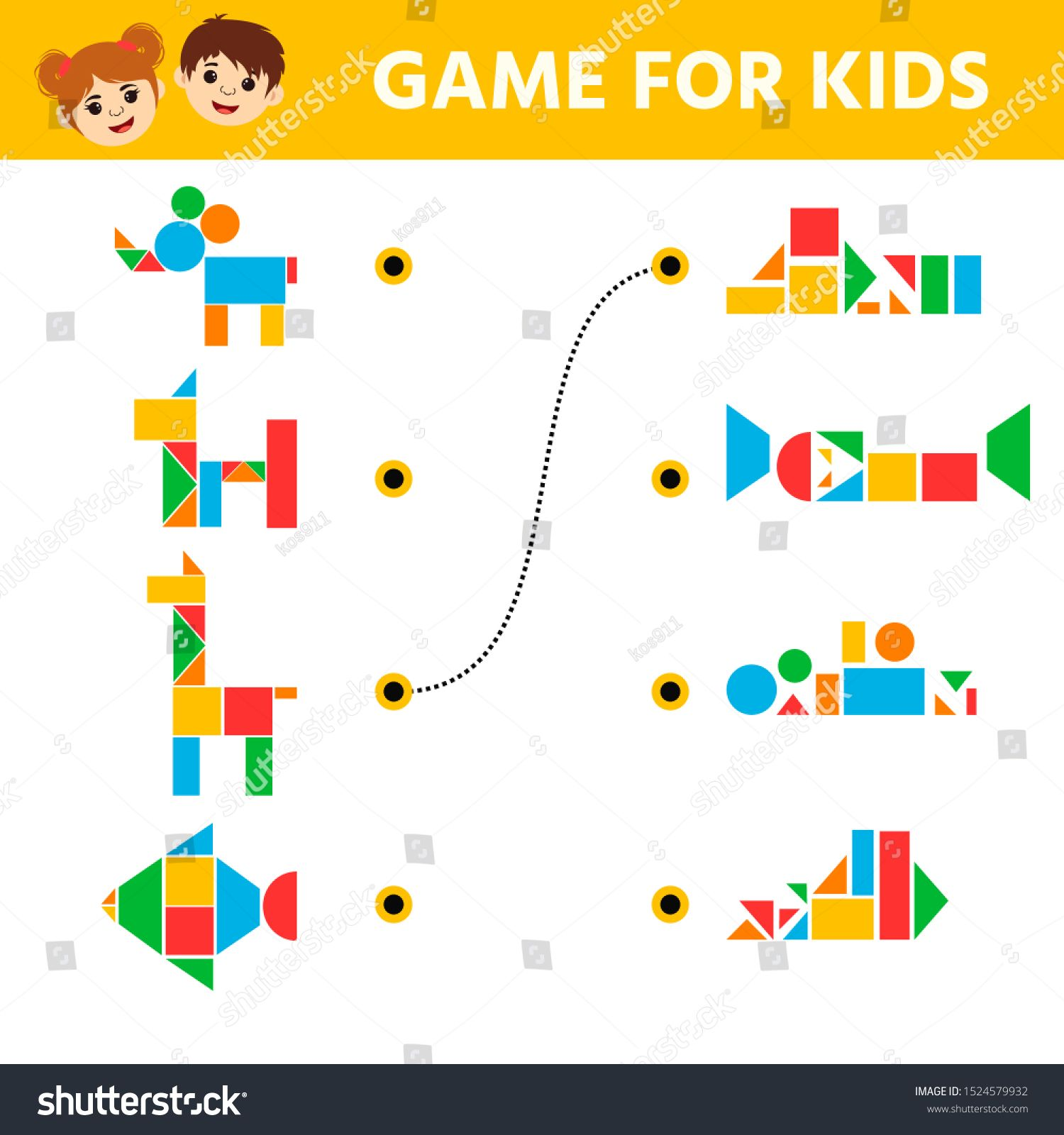 Education Logic Game For Preschool Kids Connect The