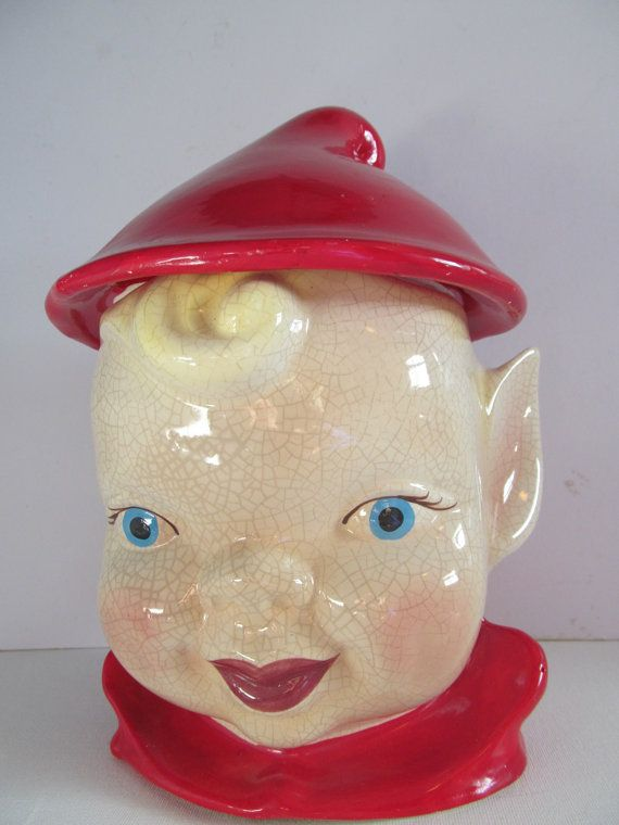 Mccoy Cookie Jar Values Impressive Vintage 1960 Mccoy Christmas Elf Pixie Cookie Jar Boy With Red Hat