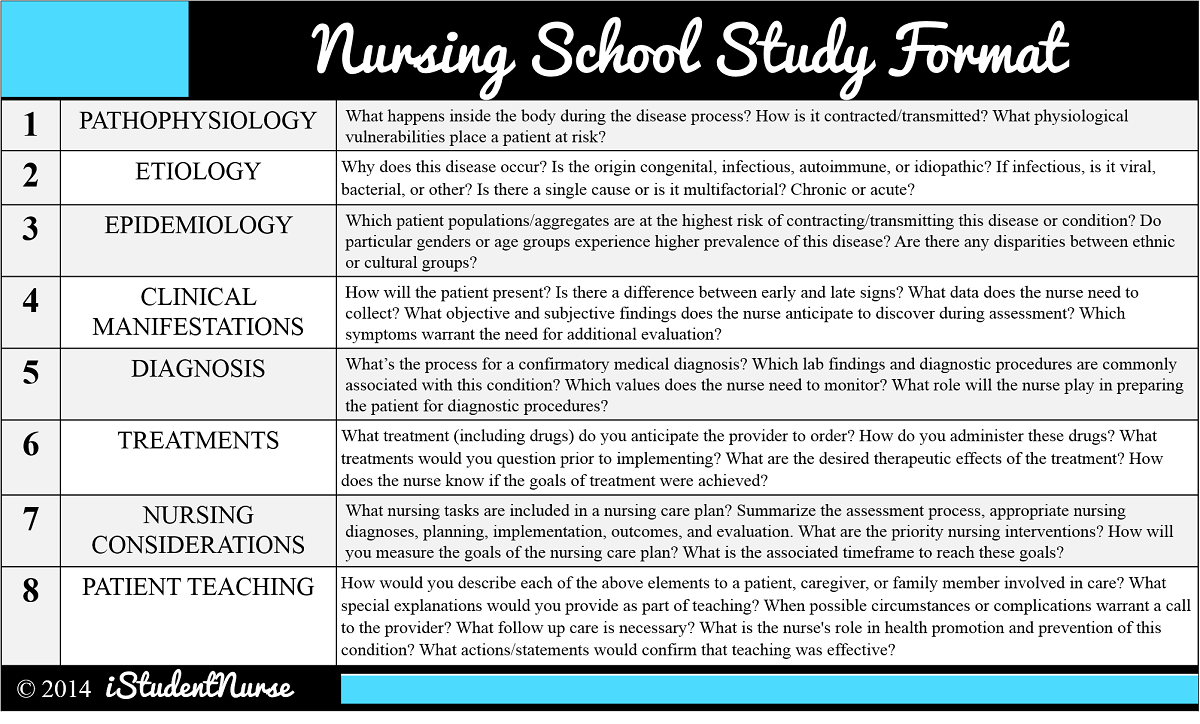 How To Study In Nursing School Format For Nursing Process