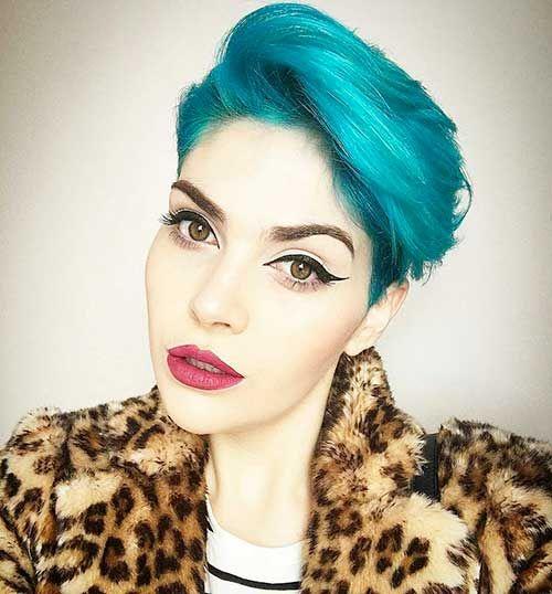 Auffallende blaue Haarfarbe-Ideen für kurzes Haar – Trend Frisuren