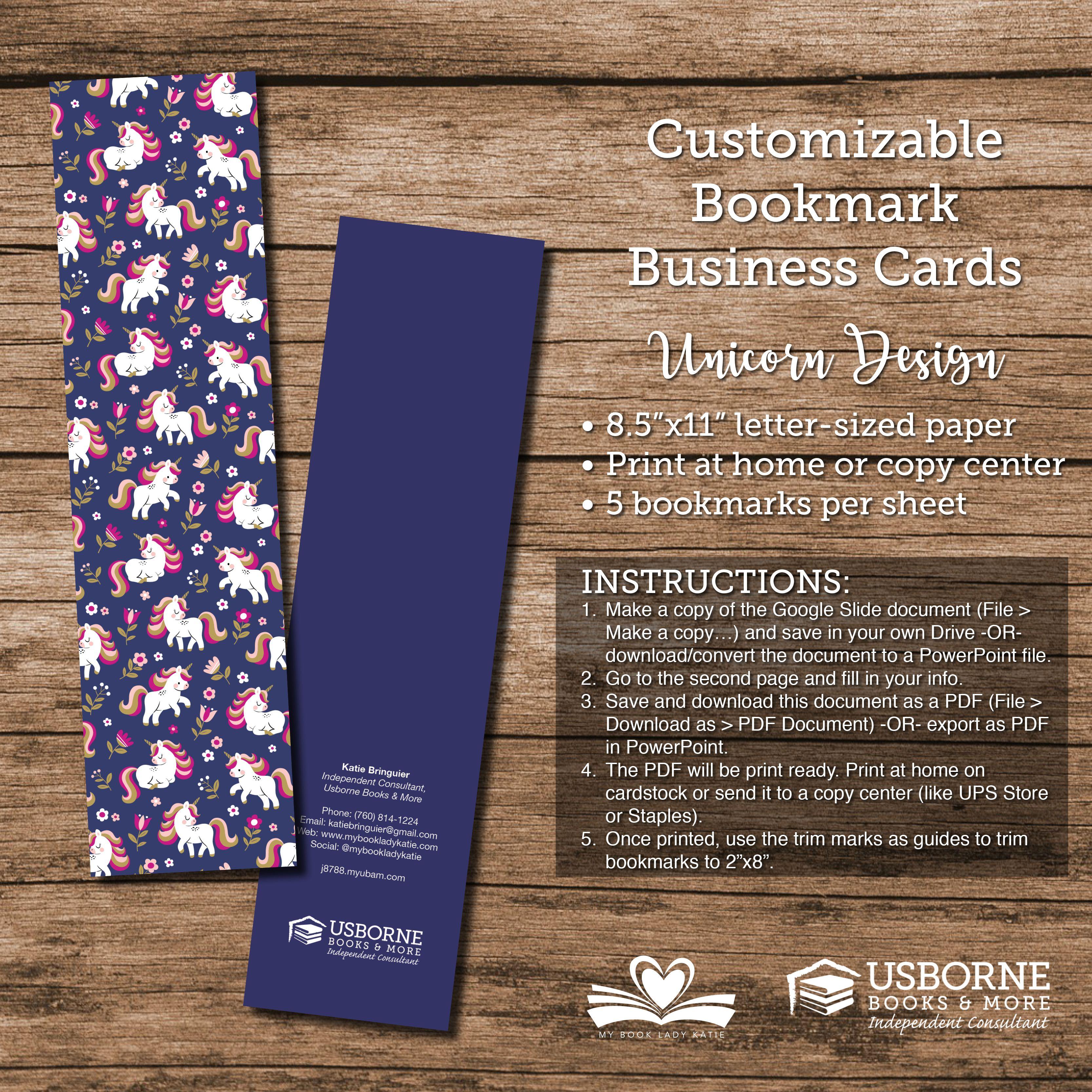 Customizable Bookmark Business Cards Usborne Letter Size Paper Bookmark