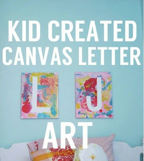 Tape on the canvas and kids paint over it
