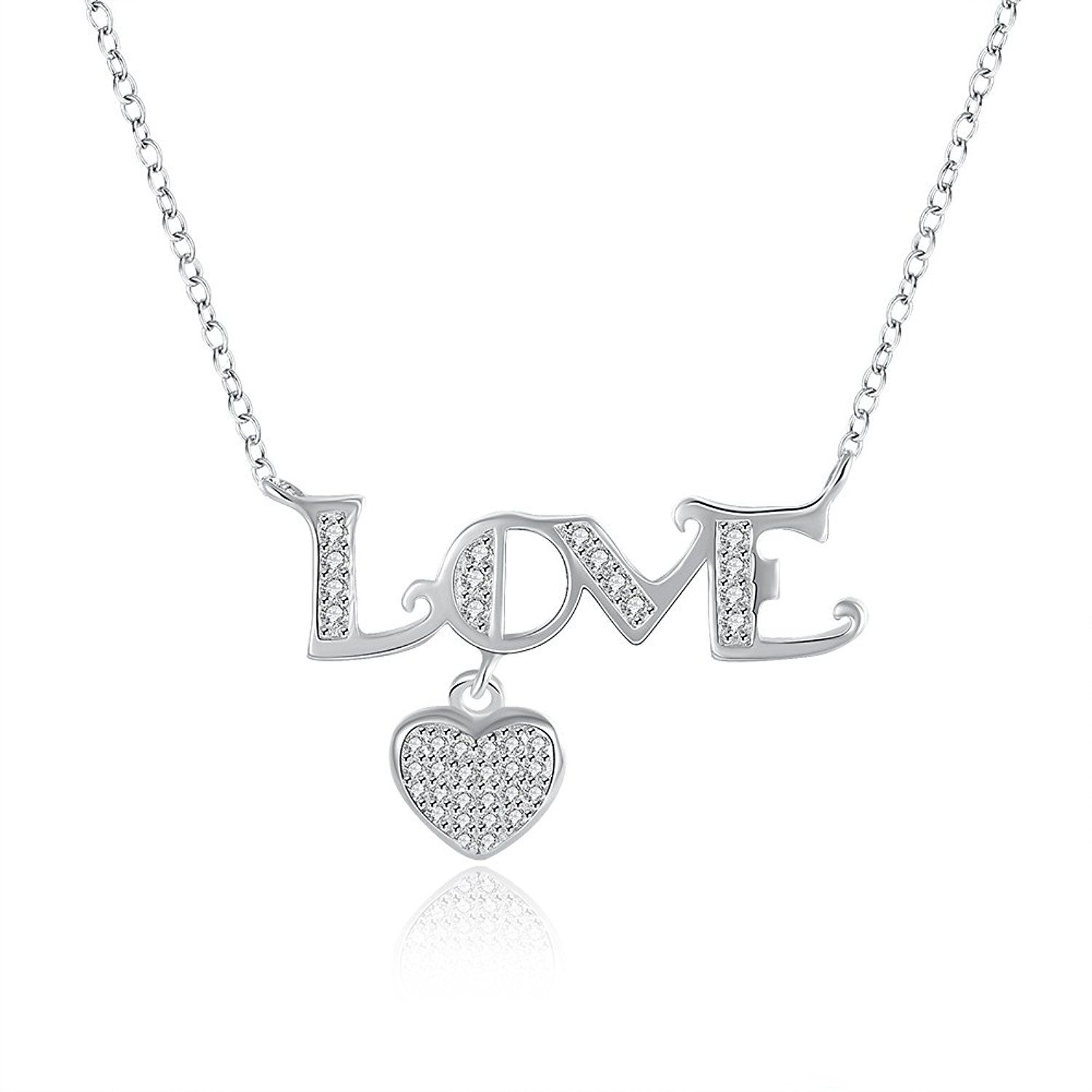 Sterling Silver Love Shape Heart Pendent Necklace,18\' * Learn more ...