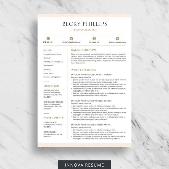 Modern Resume Template for Word Clean Resume Design Two Page - 2 page resume template