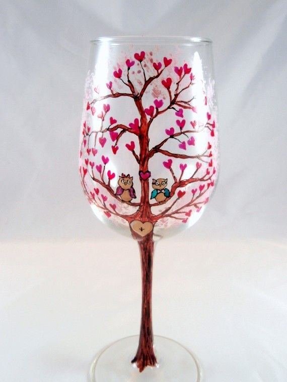 items similar to personalized wine glass engagement love tree owls romantic wedding heart hand painted wine glass on etsy - Valentine Wine Glasses
