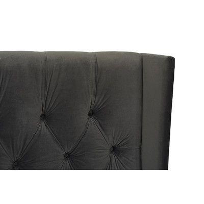 Jennifer Taylor David Tufted Wingback Upholstered Panel Bed Size: King, Upholstery: Dark Charcoal Grey