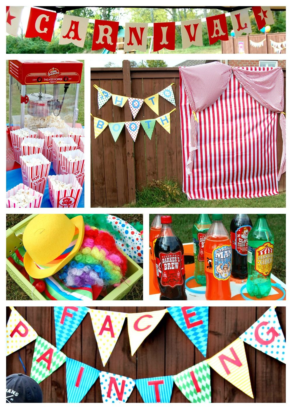 carnival birthday party ideas dress up make shift photobooth