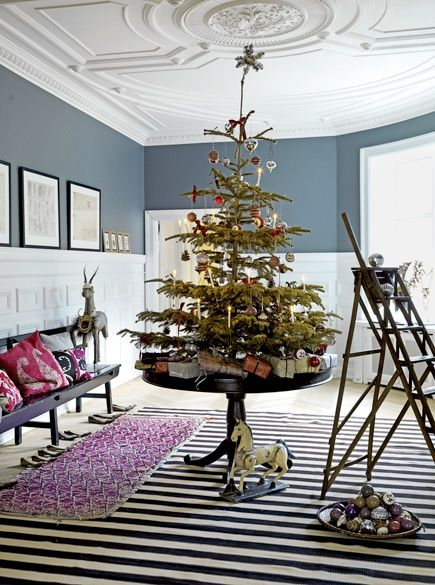 Small tree on a stand, and other budget-friendly ideas for Christmas - simple christmas decorating ideas